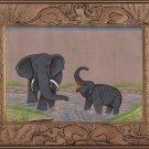 Elephant Miniature Painting Handmade Illuminated Manuscript Indian Animal Art