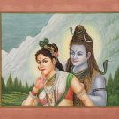 Shiva Parvati Painting Handmade Indian Hindu God Goddess Ethnic Spiritual Art