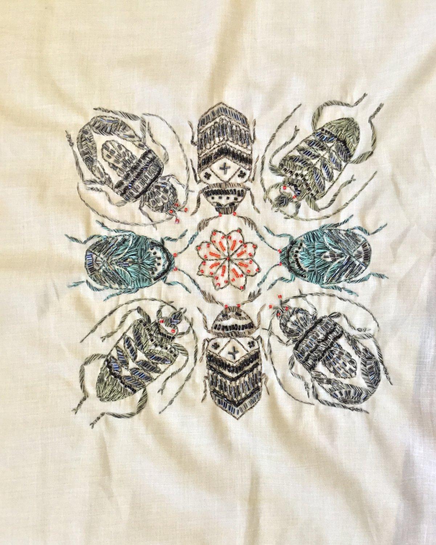 Beetle Insect Kolam Embroidery Art Handmade Indian Irula Tribe Nature Handicraft