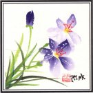 Chinese Miniature Floral Painting Handmade Lily Flower Watercolor Decor Folk Art