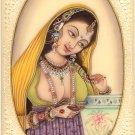 Indian Miniature Ethnic Art Handmade Princess Portrait Watercolor Folk Painting