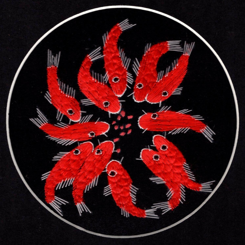 Chinese Silk Embroidery Art Handmade China Koi Fish Decor Ethnic Folk Handicraft