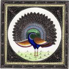 Indian Peacock Bird Art Feather Pattern Handmade Watercolor Decor Silk Painting