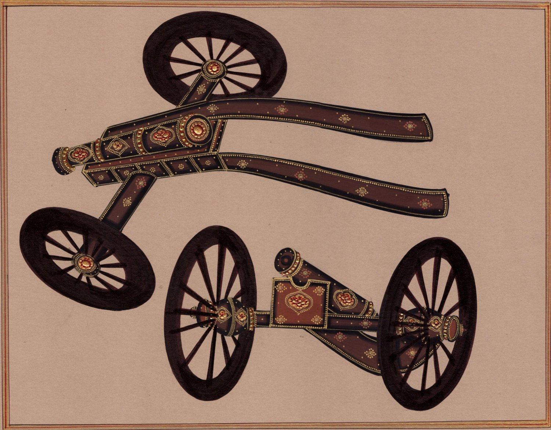 Rajasthani Indian Miniature Art Handmade Decorated Cannon Gun Weapon Painting
