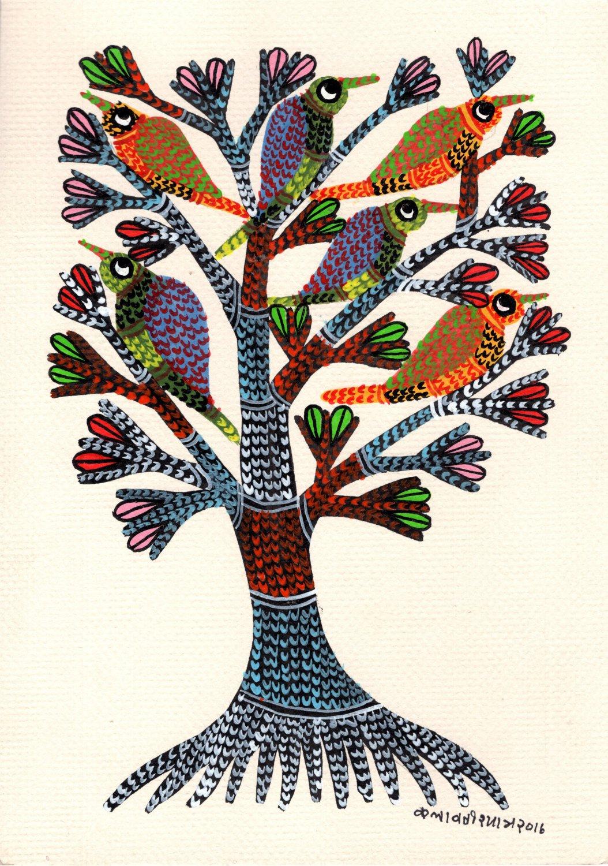 Indian Gond Painting Handmade Tree of Life Tribal Folk Miniature Wall Decor Art