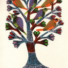 Indian Gond Painting Handmade Tree of Life Tribal Folk Miniature Wall Decor Art