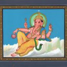 Ganesh Indian Miniature Painting Handmade India Hindu Religion Ganesha Paper Art