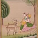 Todi Ragini Miniature Painting Indian Rajasthani Ethnic Handmade Ragamala Art