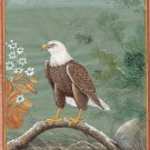 American Bald Eagle Miniature Painting Handmade Ethnic Indian Nature Bird Art