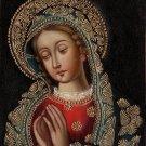 Virgin Mary Peruvian Cuzco Art Handmade Oil Canvas Religious Christian Painting