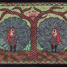 Madhubani Peacock Motif Art Indian Mithila Handmade Miniature Tribal Painting