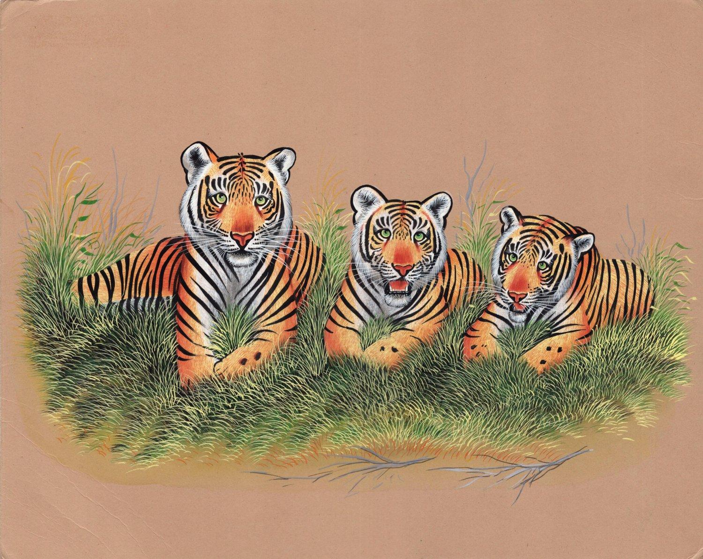 Indian Miniature Painting Royal Bengal Tiger Handmade Wild Animal Nature Art