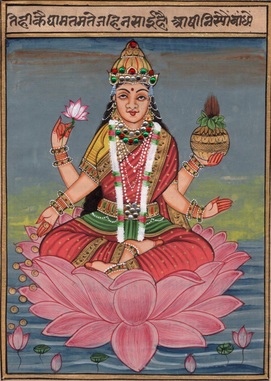 Lakshmi Hindu Goddess Art Handmade Indian Miniature Holy Religion Deity Painting