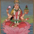 Lakshmi Hindu Goddess Art Handmade Indian Miniature Holy Religion Deity Painting