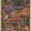 Mughal Empire Miniature Painting Handmade Watercolor Royal Indian Mogul Hunt Art
