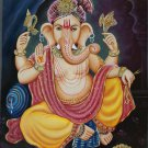 Ganesha Hindu Art Handmade Ganpati Ganesh Indian Religious Canvas Oil Painting