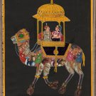 Rajasthani Composite Animal Camel Miniature Painting Handmade Urdu Script Art