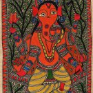 Madhubani Indian Tribal Folk Art Handmade Ganesh Mithila Bihar Ethnic Painting