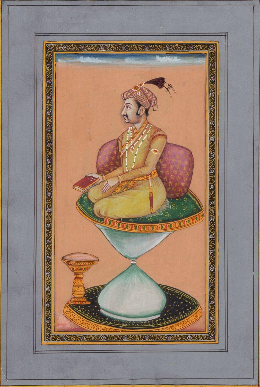 Mughal Miniature Painting Hand Painted Emperor Jahangir Watercolor Moghul Art