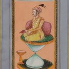 Mughal Miniature Painting Hand Painted Emperor Jahangir Watercolor Moghul Art