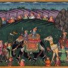 Rajasthani Indian Miniature Painting Handmade Royal Maharaja Procession Folk Art