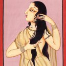 Indian Miniature Painting Handmade Rajasthani Lady of Love Portrait Ethnic Art