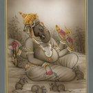 Ganesh Miniature Art Handmade Ganesha Indian Hindu Ethnic Watercolor Painting