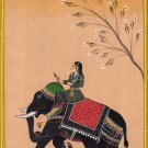 Indian Rajasthani Painting Handmade Queen Elephant Miniature Ethnic Folk Art