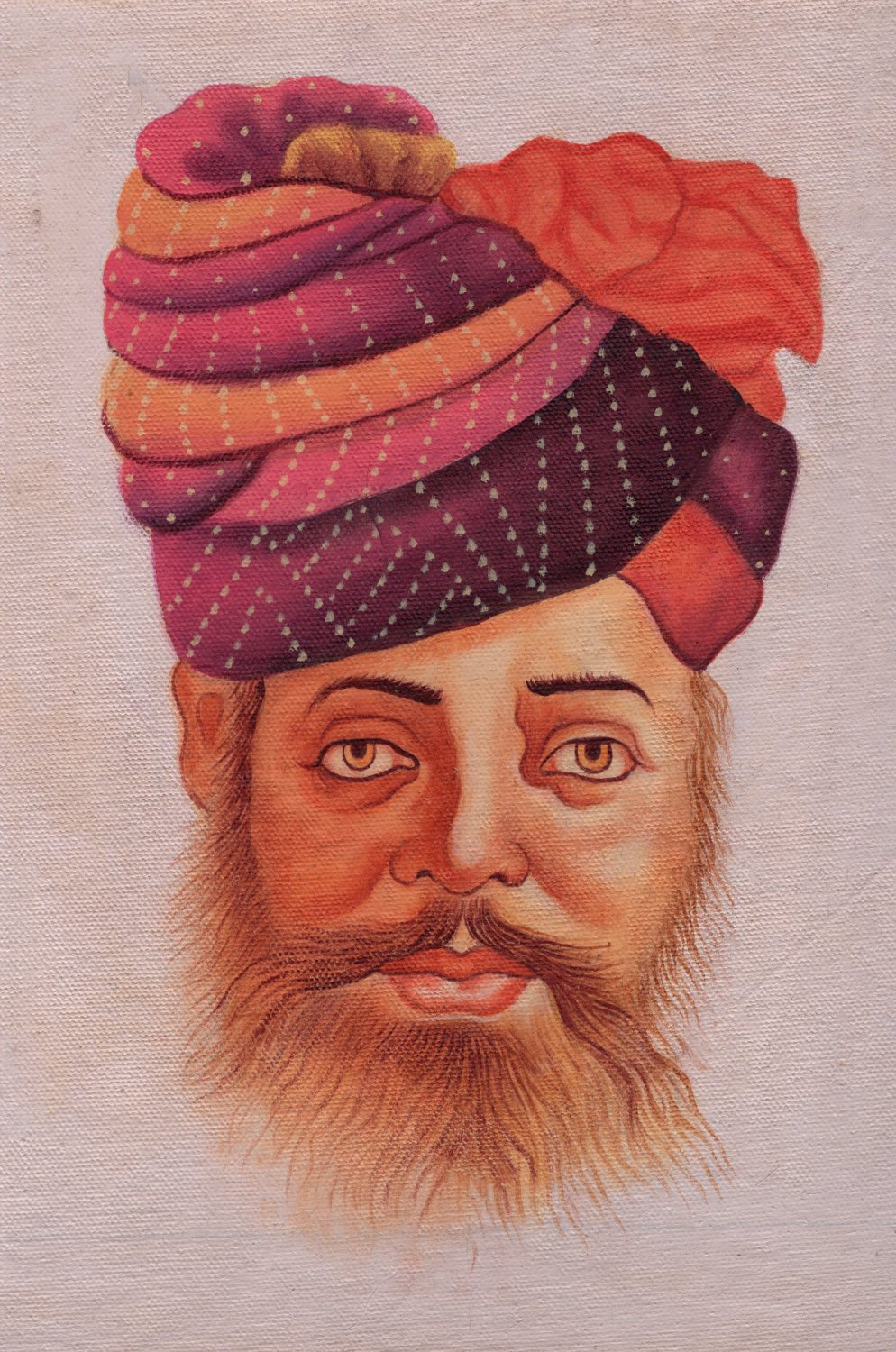 Rajasthani Miniature Painting Handmade Indian Rajput Turban Pagri Portrait Art