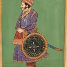 Rajasthani Painting Jaipur Maharajah Handmade Miniature Decor Portrait India Art