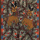 Madhubani Tribal Folk Art Handmade Indian Mithila Bihar Ethnic Deer Painting