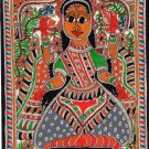 Madhubani Lakshmi Motif Art Indian Mithila Handmade Miniature Tribal Painting