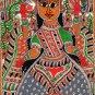 Madhubani Lakshmi Motif Art Indian Mithila Handmade Miniature Tribal Painting