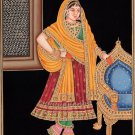 Indian Maharani Queen Miniature Painting Handmade Rajput Rajasthani Embossed Art