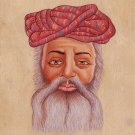 Rajasthani Miniature Art Handmade Indian Rajput Turban Pagri Portrait Painting