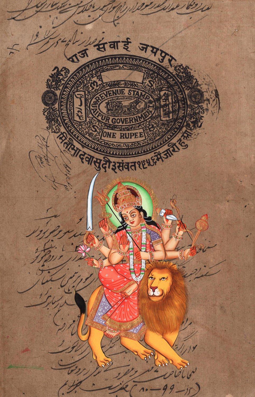 Durga Ma Devi Hindu Goddess Handmade Artwork India Spiritual Religion Painting