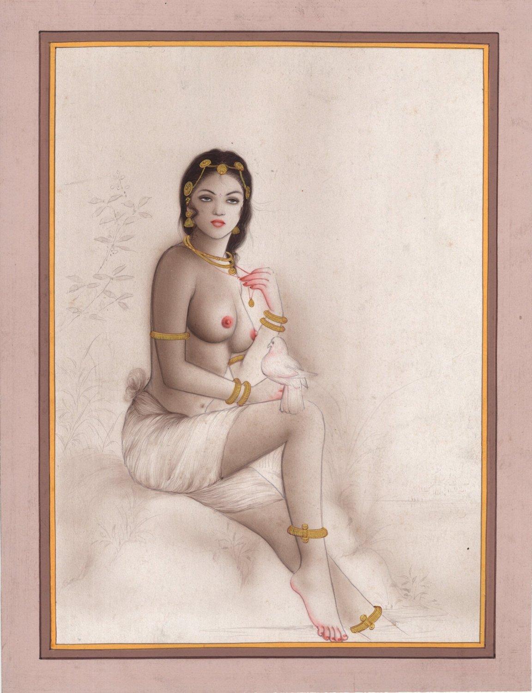 Indian Miniature Semi Nude Portrait Painting Handmade Erotic Decor Ethnic Art