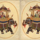 Mughal Miniature Royal Art Handmade Ambabari Elephant Watercolor Ethnic Painting