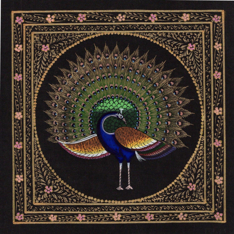Indian Bird Miniature Art Handmade Feather Pattern Peacock Nature Decor Painting