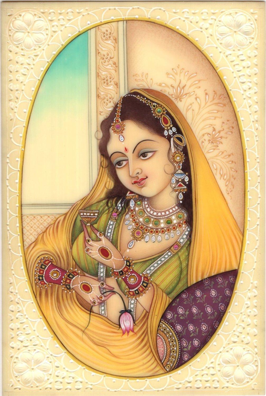 Indian Miniature Painting Kashmir Lady Handmade Watercolor Portrait Ethnic Art