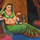 Rajasthani Jewelry Damsel Painting Handmade Indian Oil on Canvas Wall Decor Art