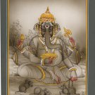 Ganesha Miniature Painting Handmade India Hindu Religion Sri Ganesh Paper Art