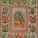 Sparrow Painting Handmade Indian Bird of Paradise Nature Floral Miniature Art