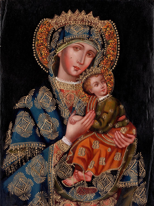 Virgin Mary Jesus Peruvian Cuzco Art Handmade Religious Christian Decor Painting