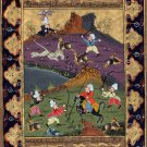 Persian Art Indian Islamic Illuminated Manuscript Handmade Miniature Painting