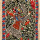 Madhubani Indian Tribal Folk Painting Handmade Peacock Mithila Bihar Ethnic Art