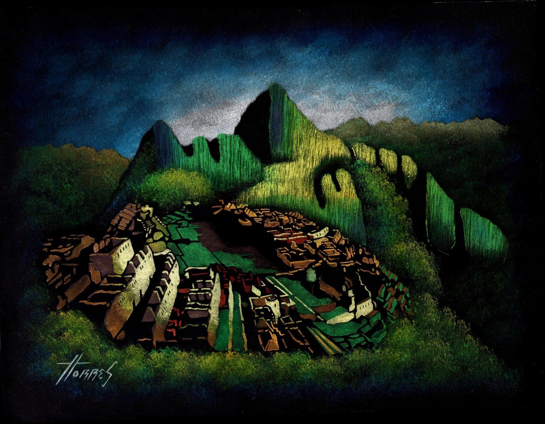 Machu Picchu Peruvian Cuzco Art Handmade Oil on Velvet Inca Pachacuti Painting
