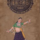 Indian Miniature Painting Hand Painted Dancing Lady Folk Ethnic Watercolor Art