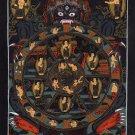 Bhavachakra Mandala Thanka Art Handmade Tibet India Buddha Wall Decor Painting