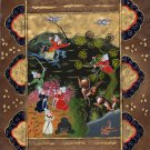Persian Illuminated Manuscript Miniature Art Rare Indo Islamic Hunt Painting